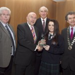 Ray McManus, President of the Photographers Association of Ireland; Minister for Education, Ruairi Quinn, TD; Matt Dempsey, Chairman NNI; Amy Johnston, Our Lady's College, Greenhills, Drogheda, Co. Louth, 3rd place Photojournalism category; Martin Sisk, President, Irish League of Credit Unions