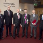 Pictured: John Horgan, Press Ombudsman; Matt Dempsey, Chairman NNI; Minster for Education, Ruairi Quinn, TD; Martin Sisk, President of the Irish League of Credit Unions; David Puttnam, guest speaker; and Enda Buckley, Director of NiE