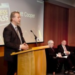 Pictured: MC, Matt Cooper welcomes the students and guests to the NNI Press Pass Awards 2013