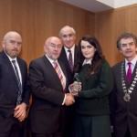 Darragh Keany, member of the judging committee; Minister for Education, Ruairi Quinn, TD; Matt Dempsey, Chairman NNI; Edel Crean, Pobalscoil na Trionoide, Gaelscoil na Trionoide, Co Corcaigh, 3rd place, Features category,; Martin Sisk, President, Irish League of Credit Unions