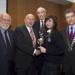 Pictured: John Horgan, Press Ombudsman; Minister for Education, Ruairi Quinn, TD; Matt Dempsey, Chairman NNI; overall winner NNI Press Press Awards, Elayna Keller, Our Lady's College, Drogheda, Co Louth; Martin Sisk, President, Irish League of Credit Unions