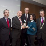 Paddy Logue, member of the judging committee; Minister for Education, Ruairi Quinn, TD; Matt Dempsey, Chairman NNI; Enya McNamara, Colaiste Choilm, Ballincollig, Co. Cork, 2nd place News category; Martin Sisk, President, Irish League of Credit Unions