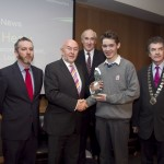Paddy Logue, member of the judging committee; Minister for Education, Ruairi Quinn, TD; Matt Dempsey, Chairman NNI; James Healy, St. Joseph's Secondary School. Tralee, Co. Kerry, 1st place News categoy; Martin Sisk, President, Irish League of Credit Unions