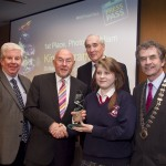 Ray McManus, President of the Photographers Association of Ireland; Minister for Education, Ruairi Quinn, TD; Matt Dempsey, Chairman NNI; Kinga Strama, St. Mary's Colege, Arklow, Co. Wicklow, 1st place Photojournalism category; Martin Sisk, President, Irish League of Credit Unions