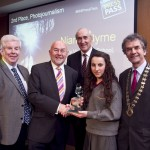 Ray McManus, President of the Photographers Association of Ireland; Minister for Education, Ruairi Quinn, TD; Matt Dempsey, Chairman NNI; Niamh Byrne, Abbey Vocational School, 2nd place Photojournalism category; Martin Sisk, President, Irish League of Credit Unions