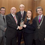 Pictured: Cathal Dervan, member of the judging committee; Minister for Education, Ruairi Quinn, TD; Matt Dempsey, Chairman NNI; Niamh Hetherington, Dunshaughlin Community College, Co Meath, 1st place Sport category; Martin Sisk, President, Irish League of Credit Unions
