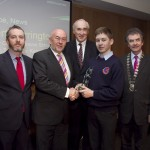 Paddy Logue, member of the judging committee; Minister for Education, Ruairi Quinn, TD; Matt Dempsey, Chairman NNI; Robert Harrington, Causeway Comprehensive School, Tralee, Co. Kerry, 3rd place News category; Martin Sisk, President, Irish League of Credit Unions